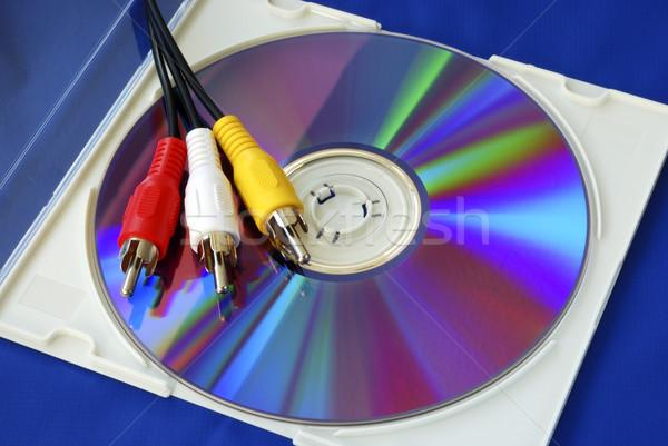 Video kablolar cd yalıtılmış mavi müzik Stok fotoğraf © johnkwan