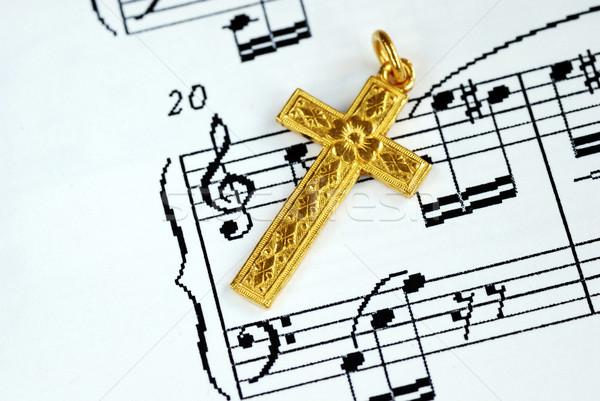 Altın çapraz üst müzik levha altın Stok fotoğraf © johnkwan