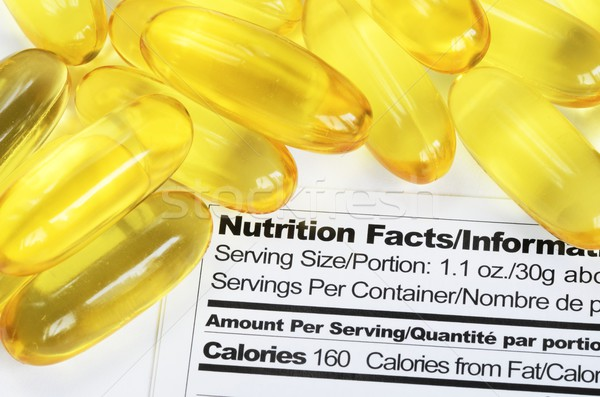 Nutrition label with fish oil pills concept healthy eating Stock photo © johnkwan