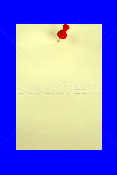 A yellow card with a red pin isolated in blue.  Your text is here. Stock photo © johnkwan