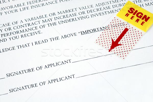Felirat név itt szerződés munka toll Stock fotó © johnkwan