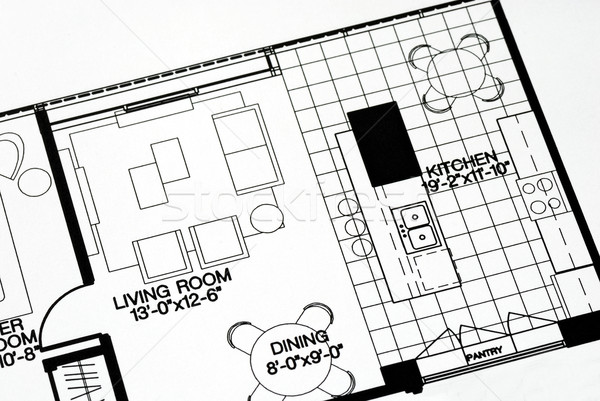A floor plan focused on the living room and kitchen Stock photo © johnkwan