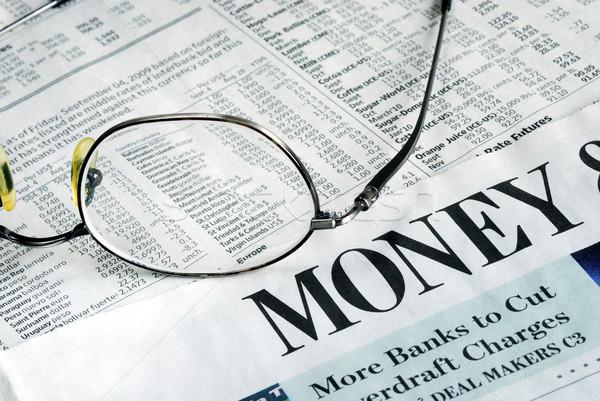 Fókusz pénz befektetés újság pénzügy stock Stock fotó © johnkwan