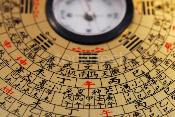 "Chinese Feng Shui compass focused on the Chinese word ""afternoon"" Stock photo © johnkwan"