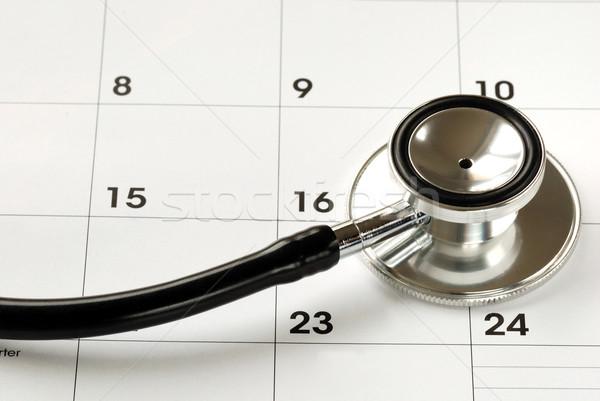 Stethoscoop kalender medische afspraak gezondheid Stockfoto © johnkwan