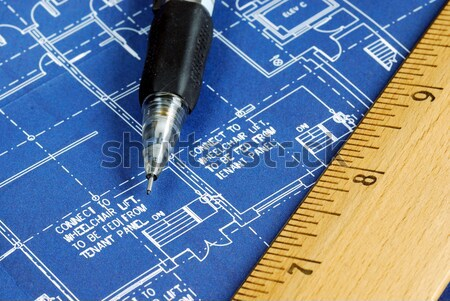 Close up view of the blue print Stock photo © johnkwan