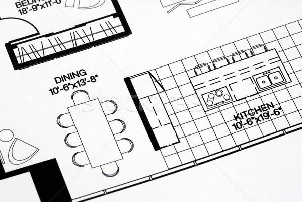A floor plan focused on the kitchen and dinning room Stock photo © johnkwan