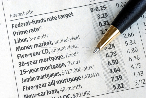 Check out various interest rates from the newspaper Stock photo © johnkwan