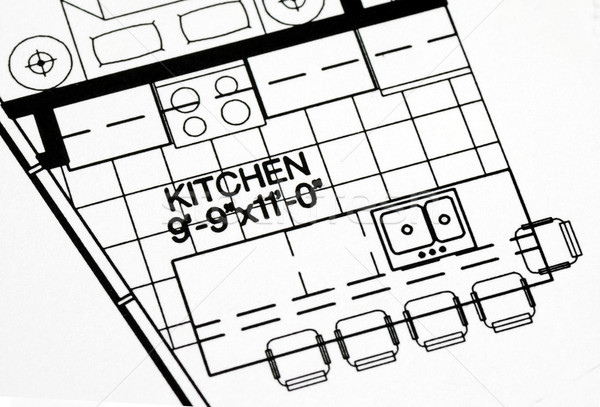 A floor plan focused on the kitchen and dinning area Stock photo © johnkwan