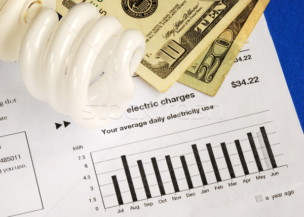 Save money by using energy savings light bulbs concepts of conservation Stock photo © johnkwan