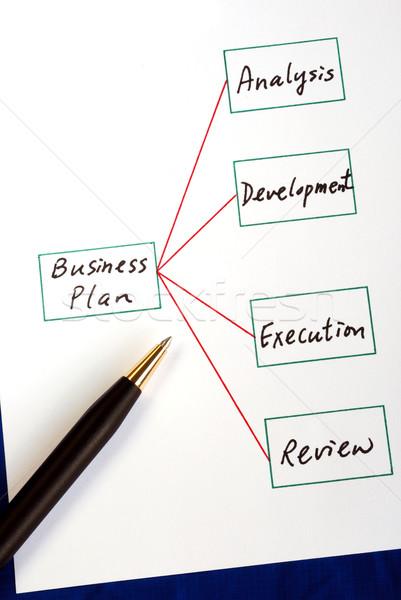 Dört adımlar iş plan yalıtılmış mavi Stok fotoğraf © johnkwan