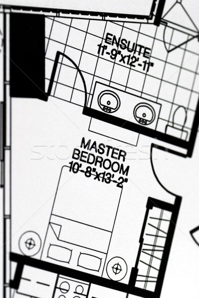 A floor plan focused on the master bedroom Stock photo © johnkwan