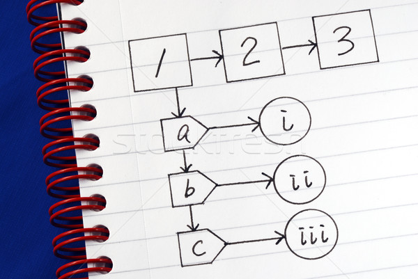 A sample flowchart for a general procedure isolated on blue Stock photo © johnkwan