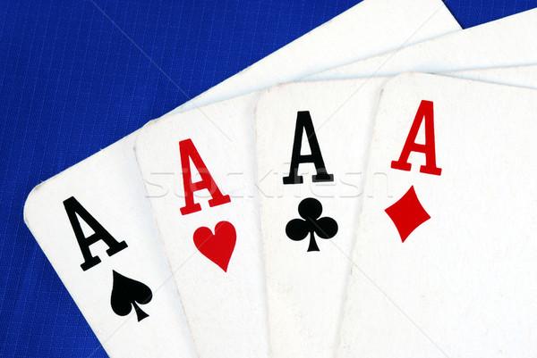 ストックフォト: 4 · エース · 再生 · カード · 孤立した · 青