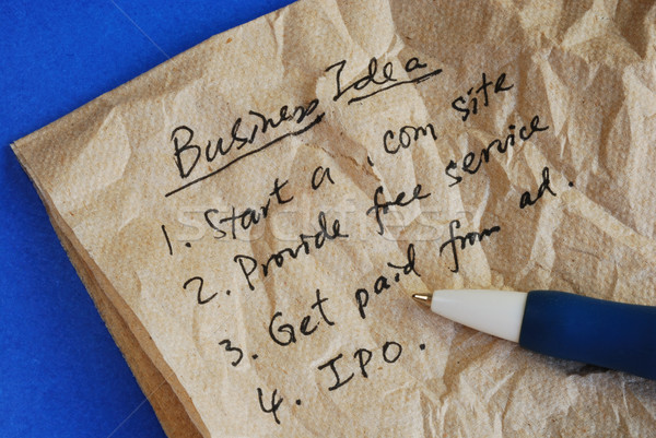 Write some creative business ideas on a tissue isolated on blue Stock photo © johnkwan