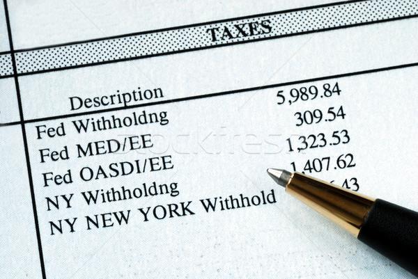Lista adózás illetmény biztonság pénzügy könyvelés Stock fotó © johnkwan