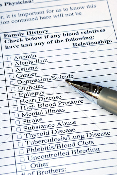 Filling the Family History section in the medical history questionnaire  Stock photo © johnkwan