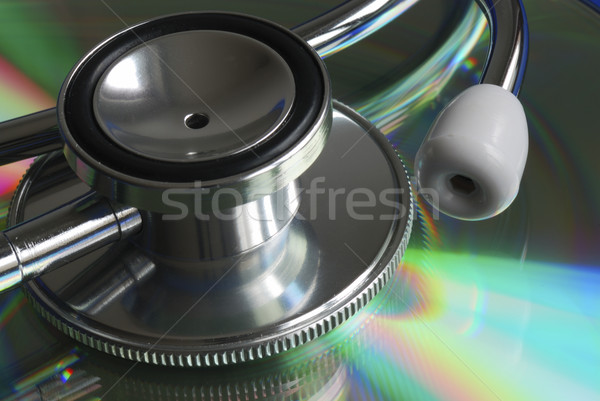 Stock photo: Close up view of the stethoscope on a reflective surface