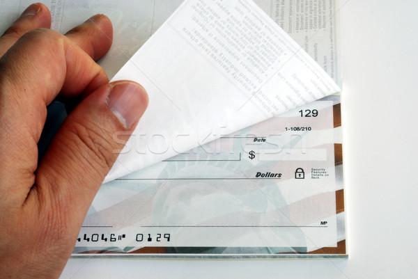 çek defteri beyaz iş para el müşteri Stok fotoğraf © johnkwan