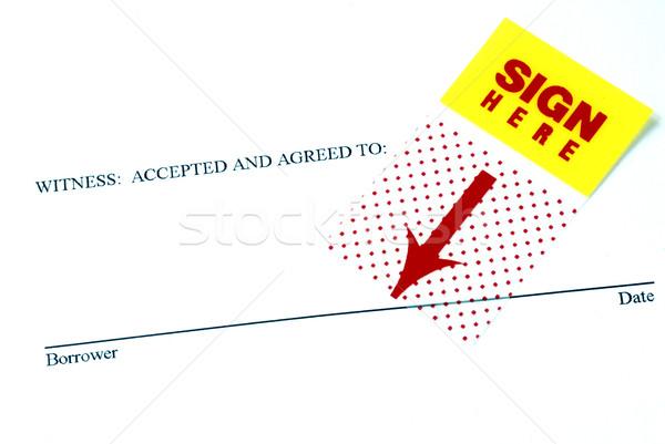 Testigo signo aquí negocios pluma escrito Foto stock © johnkwan