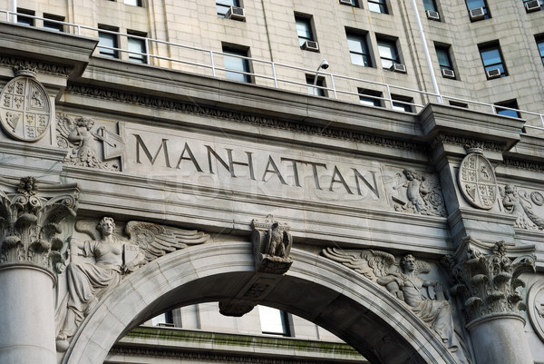Cuvant Manhattan exterior municipal constructii oraş Imagine de stoc © johnkwan