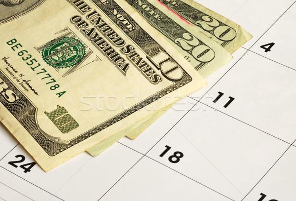 деньги календаря финансовое планирование бумаги пространстве Сток-фото © johnkwan