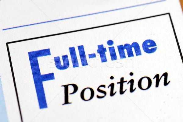 Plein temps poste signe emploi bulletin Photo stock © johnkwan