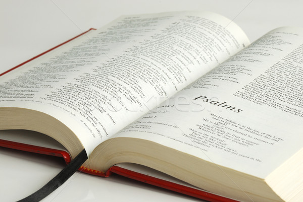 An opened bible focused on the word Psalms Stock photo © johnkwan