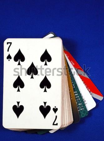 Stockfoto: Drie · aantal · zeven · kaarten · gelukkig