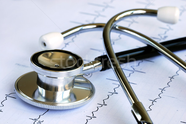A stethoscope on the top of the EKG chart Stock photo © johnkwan