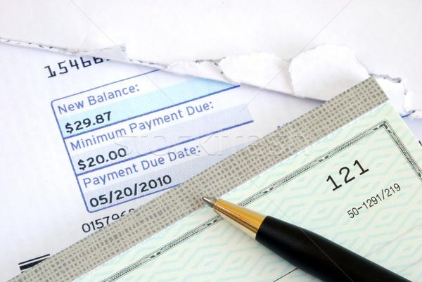 Illetmény számla idő csekk üzlet pénz Stock fotó © johnkwan