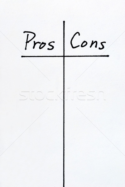 A list of Pros and Cons arguments Stock photo © johnkwan