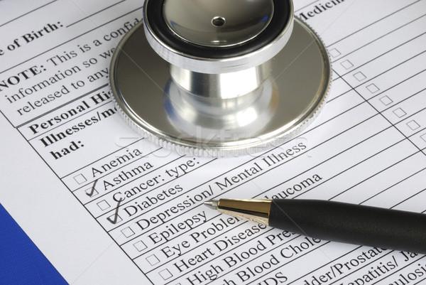 Remplissage médicaux histoire questionnaire isolé bleu Photo stock © johnkwan