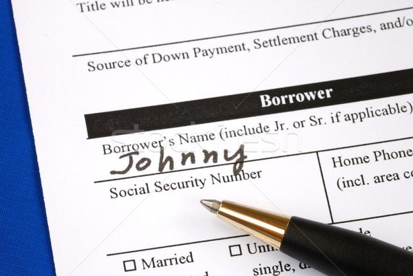 Fuera casa hipoteca aplicación forma dinero Foto stock © johnkwan