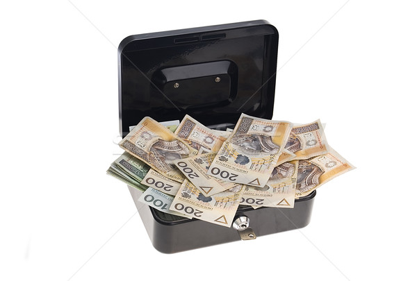Para nakit kutu siyah yalıtılmış beyaz Stok fotoğraf © johnnychaos