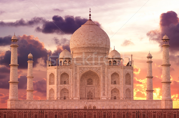 Pôr do sol Taj Mahal mausoléu amor sol nascer do sol Foto stock © johnnychaos