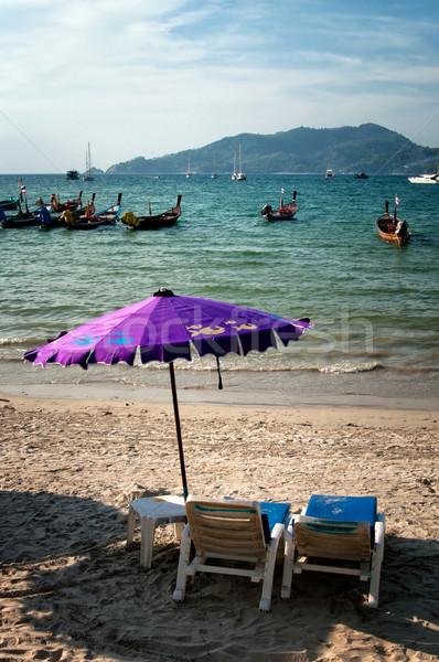 Deux chaises parapluie plage Thaïlande eau Photo stock © johnnychaos