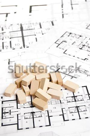 Maison plan immobilier texture construction mur Photo stock © johnnychaos