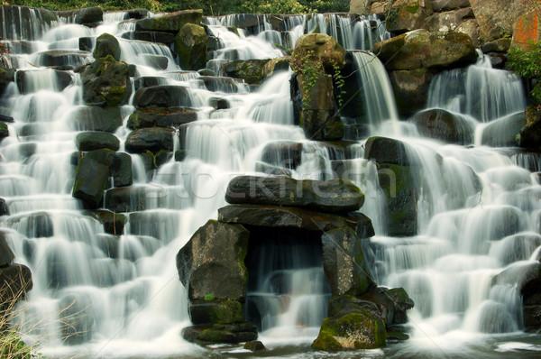 Vízesés víz fa fa erdő tájkép Stock fotó © johnnychaos