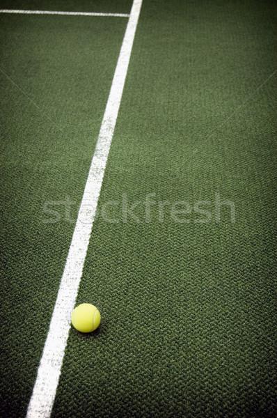Teniszlabda tenisz citromsárga labda vonalak bíróság Stock fotó © johnnychaos