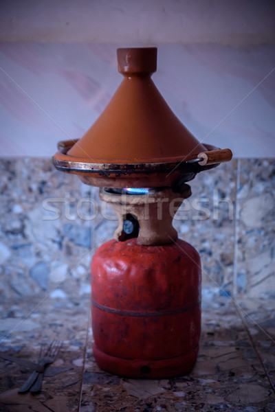 Traditional moroccan tagine making on gas bottle Stock photo © johnnychaos