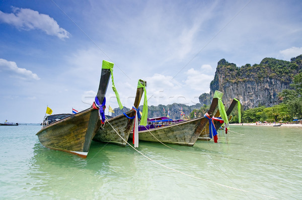 Barcos Tailândia praia verão oceano barco Foto stock © johnnychaos