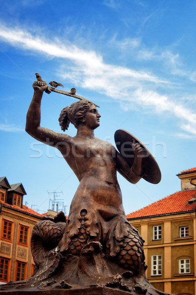 Siren Monument, Old Town in Warsaw, Poland  Stock photo © johnnychaos