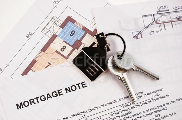 Schlüssel Hypothek beachten Blaupausen Gebäude home Stock foto © johnnychaos