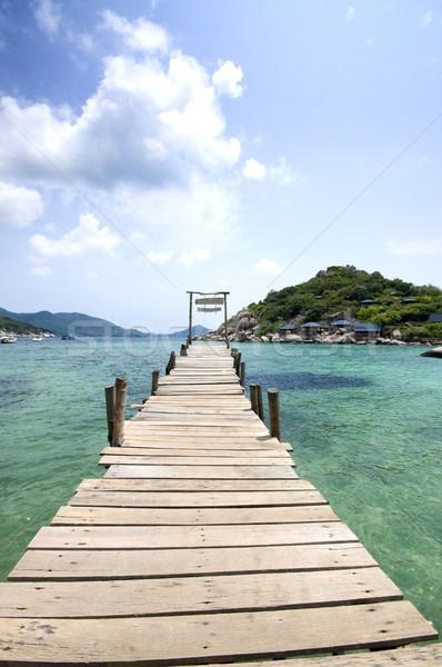 Güzel iskele Tayland ahşap ada gökyüzü Stok fotoğraf © johnnychaos
