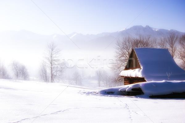 Glamour montanhas casa velha neve casa Foto stock © johnnychaos