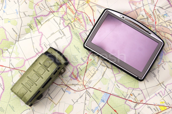 GPS and car on map Stock photo © johnnychaos