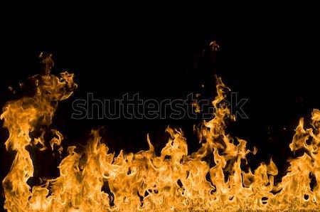 Tűz keret lángok fény narancs éjszaka Stock fotó © johnnychaos