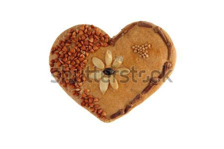 Decorativo coração pão sementes dente de alho Foto stock © johnnychaos