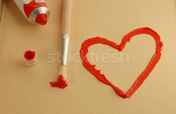 Boyalı kalp kırmızı fırçalamak sevmek Stok fotoğraf © johnnychaos